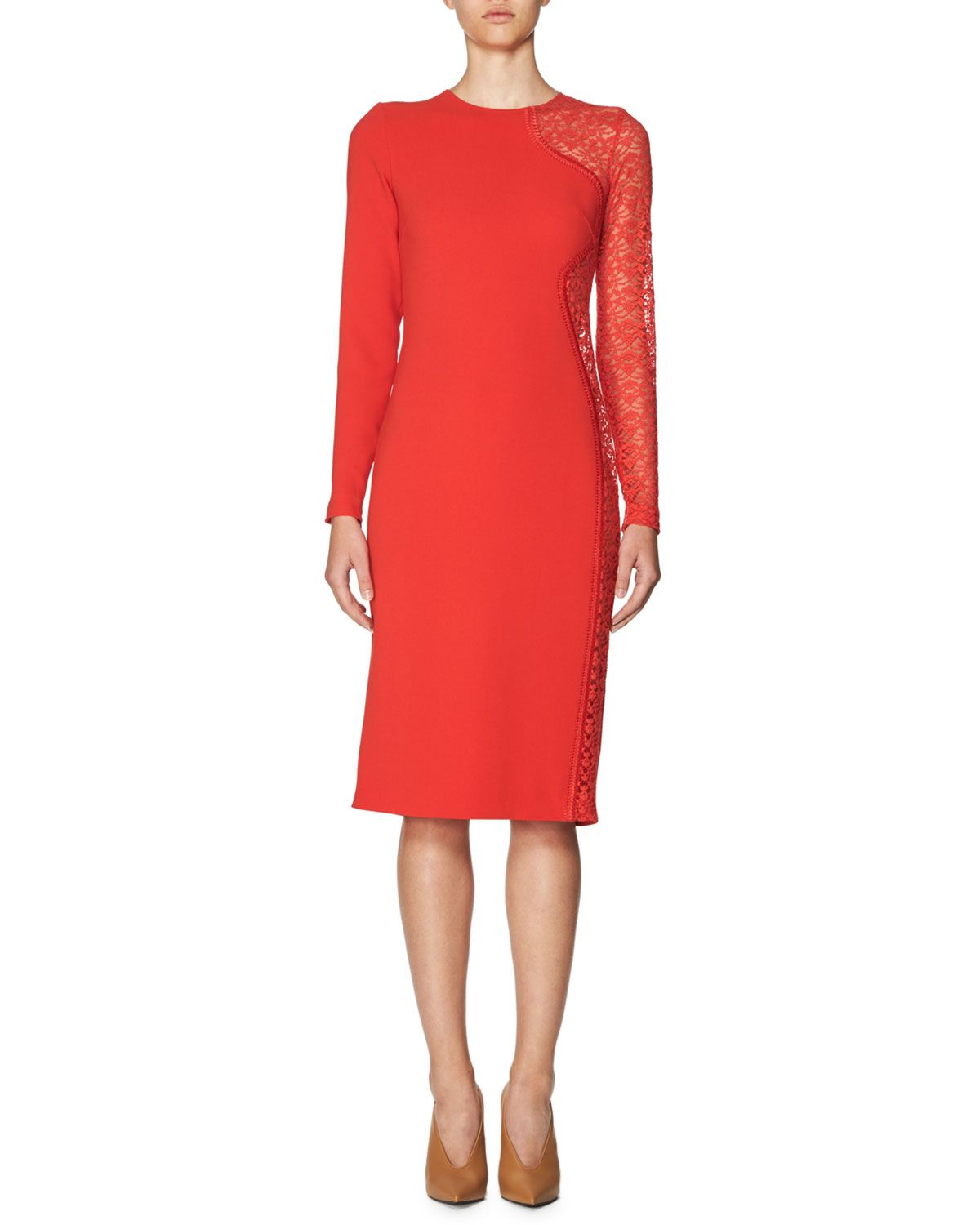 Lace-Side Long-Sleeve Dress, Red