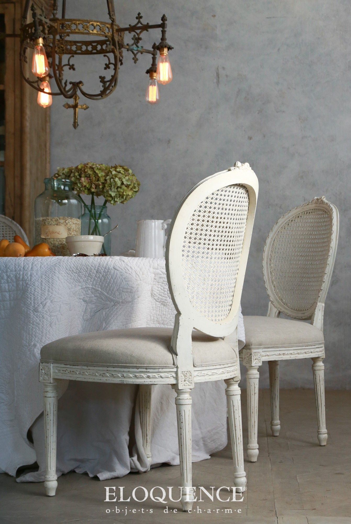Eloquence Louis Dining Chair In A Classic XVI Style With Slender Tapered Legs And