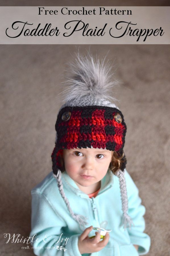17a547a7c00c6 Toddler Plaid Trapper Hat - Free Crochet Pattern