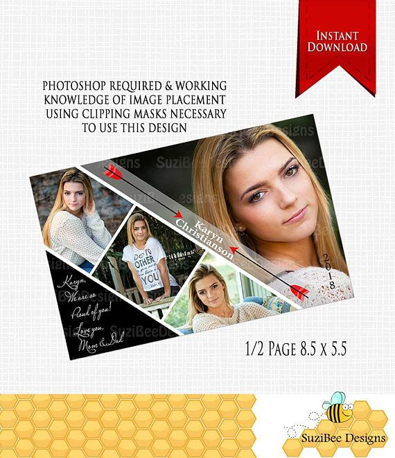 Downloadable - Yearbook Ad, Template - Half Page - PHOTOSHOP - half sheet template