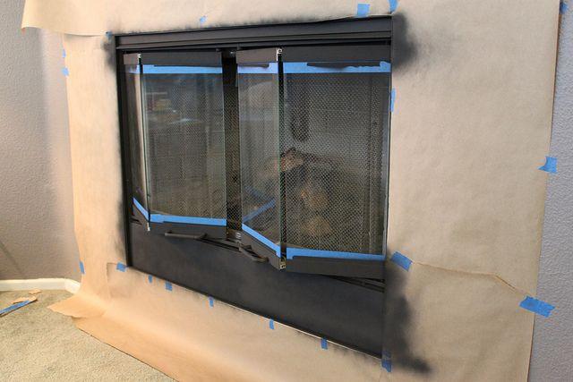 Spray Painting Brass Fireplace Doors
