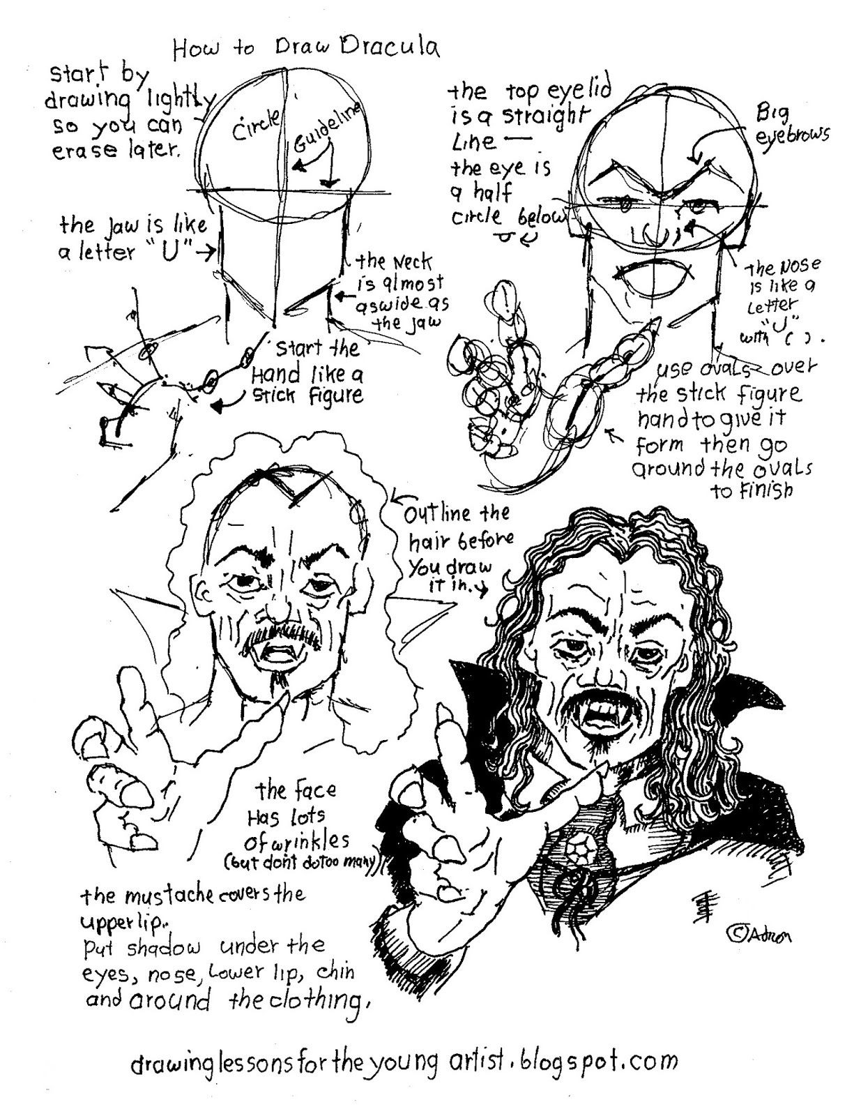 How To Draw Dracula Free Printable Worksheet With Images