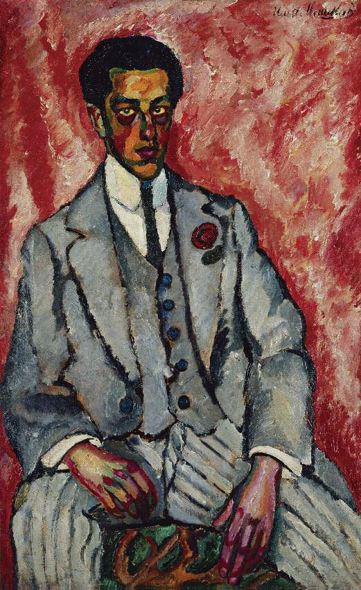 Ilya Mashkov (Russian, 1881-1944), Portrait of a Man with Flower in Buttonhole, 1910. Oil on canvas, 142 x 86 cm.