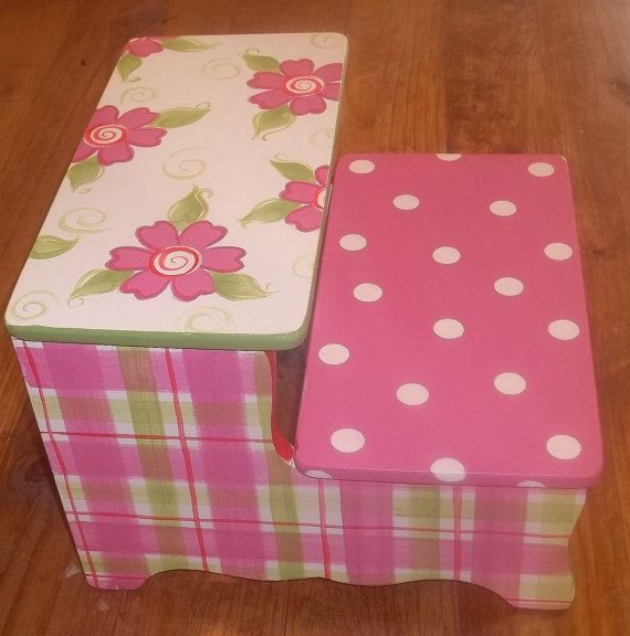 Custom Wooden Step Stool Pinks And Dots Stepstool Baby