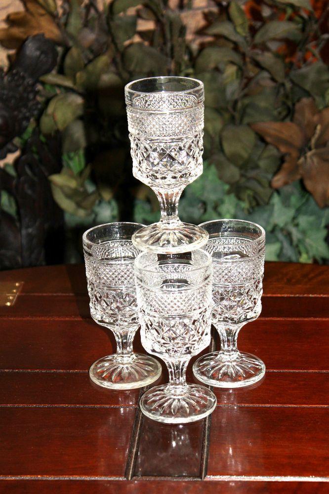 Set/4 Vintage Anchor Hocking WEXFORD Juice Claret WINE GOBLETS Diamond MULTIPLES