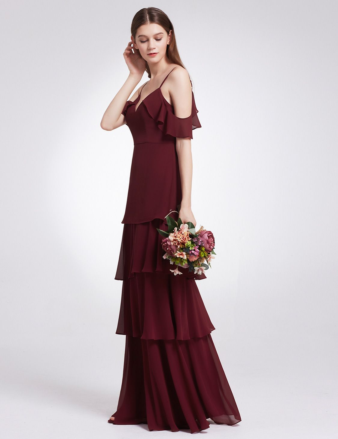 379d3bf234c Ever-Pretty Womens Fashion Long Cold Shoulder Empire Waist Evening Prom  Homecoming Gradual Party Dresses for Women 07202 Burgundy US 10 Empire