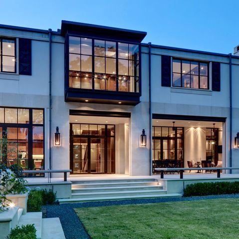 Modern Home Exterior Limestone Design Ideas Pictures