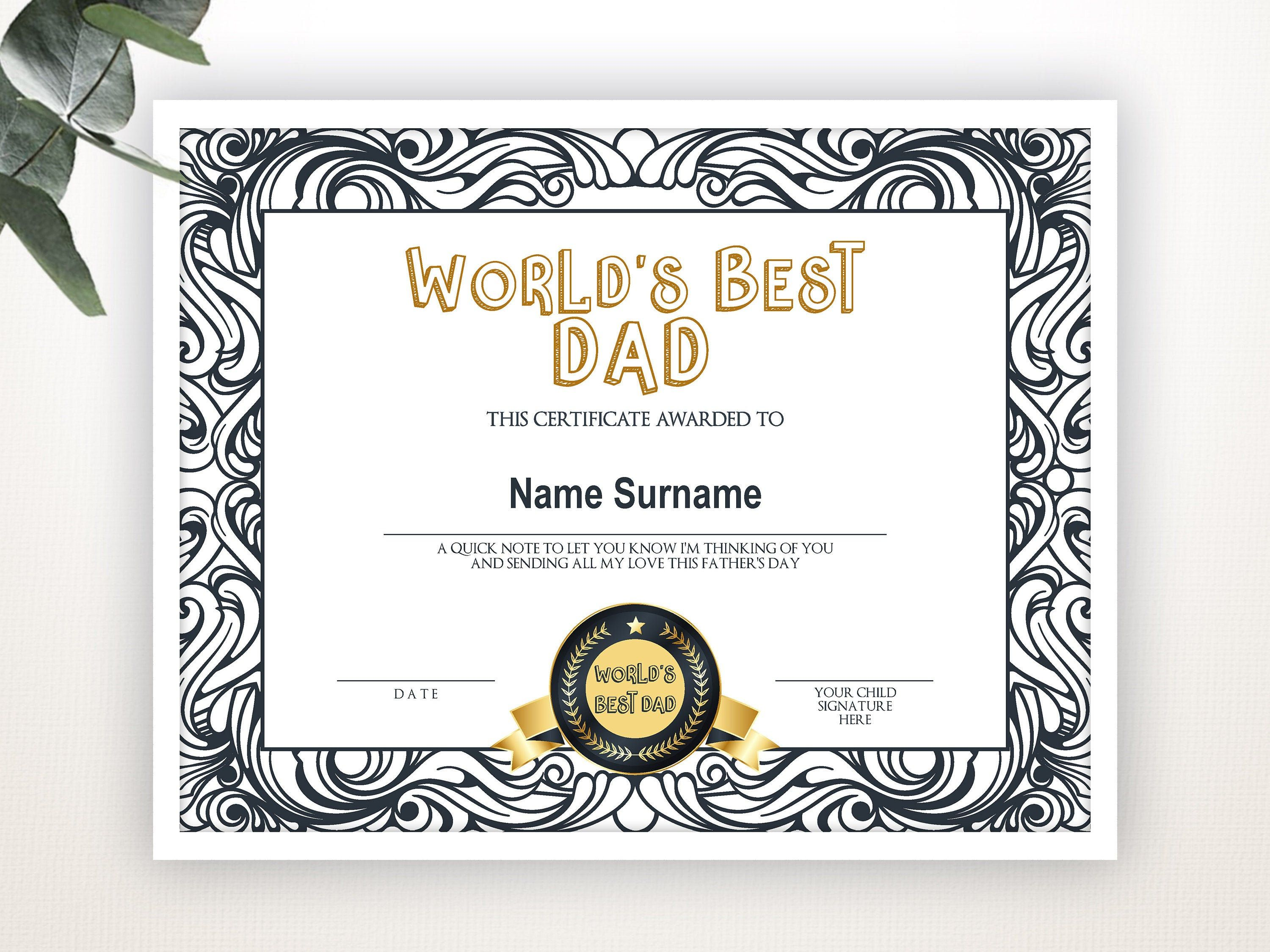 World S Best Dad Best Dad Award Gift For Father S Etsy In 2021 Worlds Best Dad Certificate Templates Free Gift Certificate Template Fathers day gift certificate template