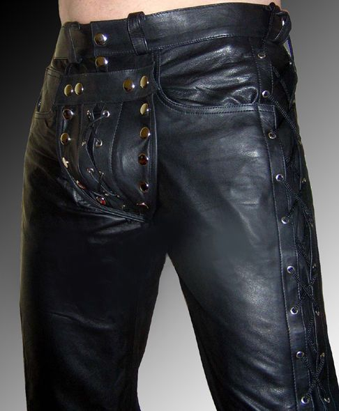 9639baf3a217 leather pants NEW leather trousers gay pants zip backside Cod piece lacing   Lustfashion  Carpenter