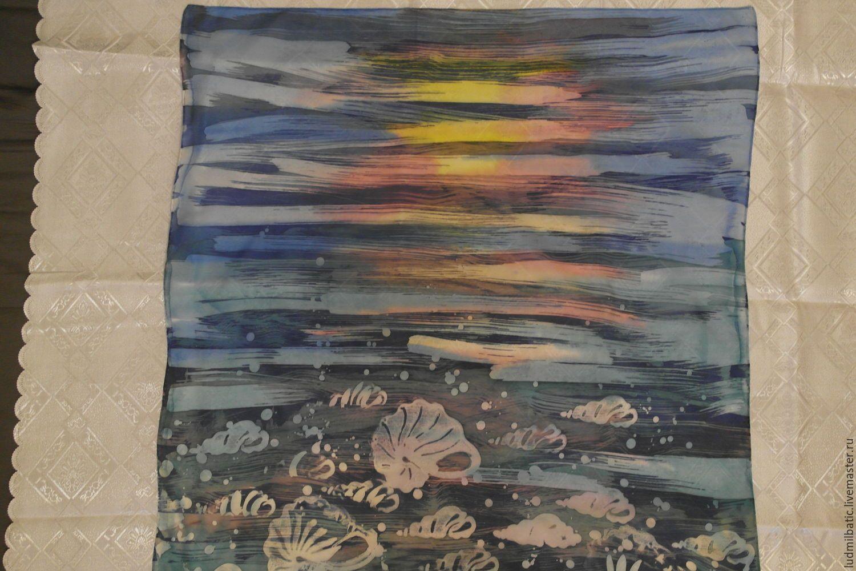 Купить Морской берег - рисунок, синий, море, ракушки, Батик, платок, платок батик