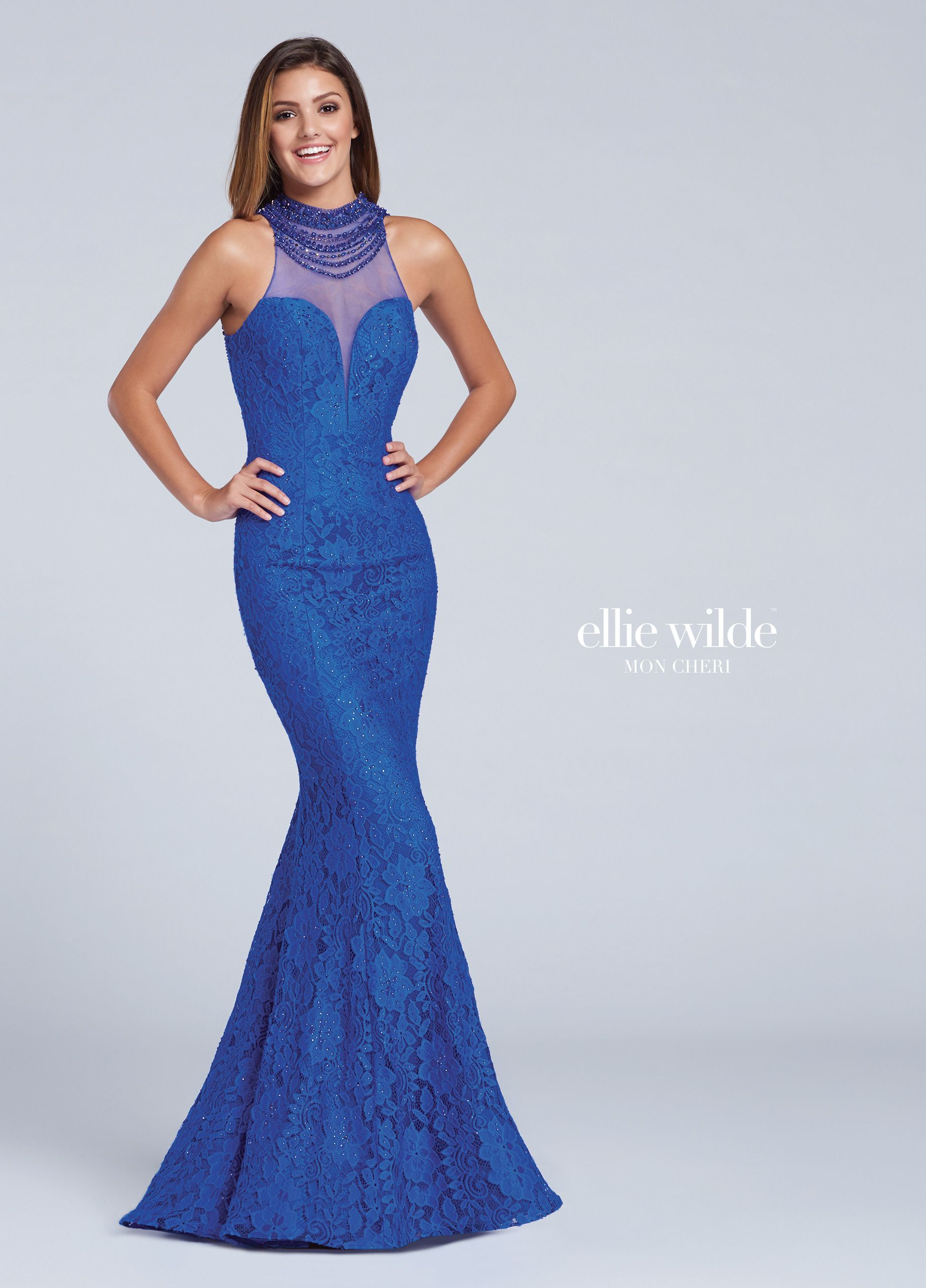 806bf783a71 Ellie Wilde EW117057 - Lace fit and flare gown with hand-beaded illusion  high halter neckline over a deep plunging sweetheart bodice