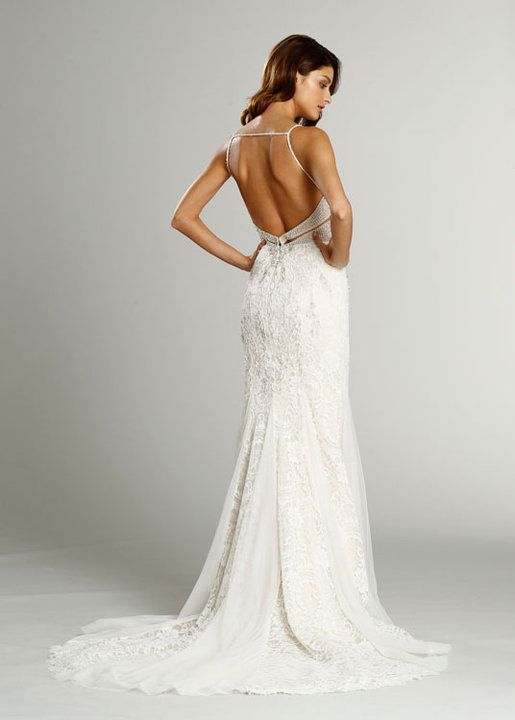 Ivory French Corded lace over Champagne Charmeuse slim bridal gown ...