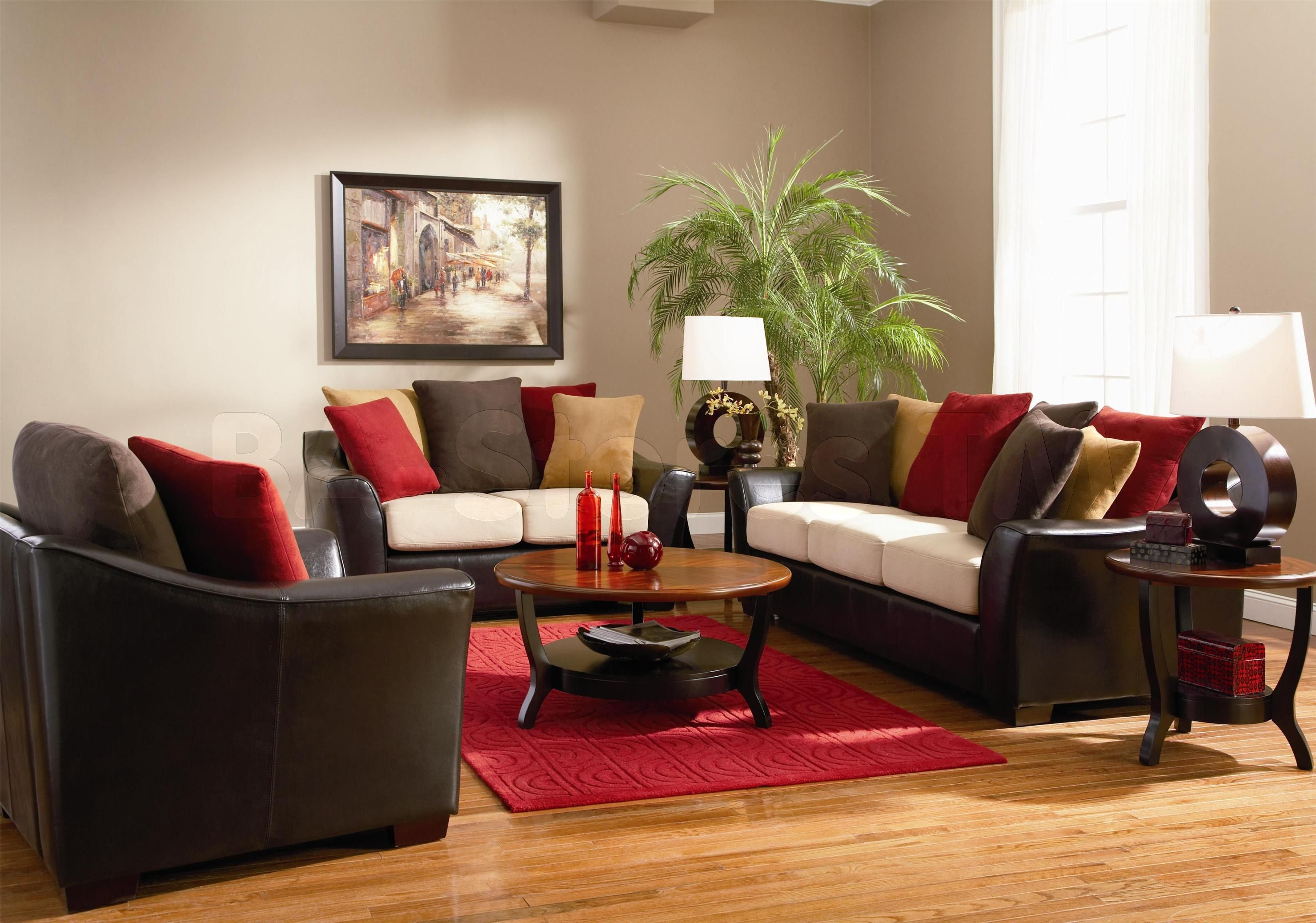 Brown Leather Sofa With Colorful Cushions Added By Round Brown Living Room Sets Furniture Living Room Red Brown Living Room