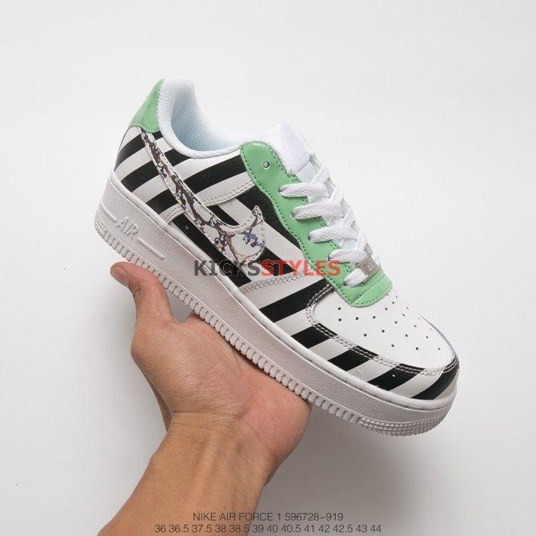 hot sales 2d2b8 939e4 Custom Nike Air Force 1 Off-White Black Diagonal Stripe