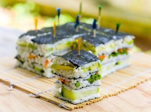 sushi asian food vegan food appetizer sriracha freestyle sushi Oshizushi