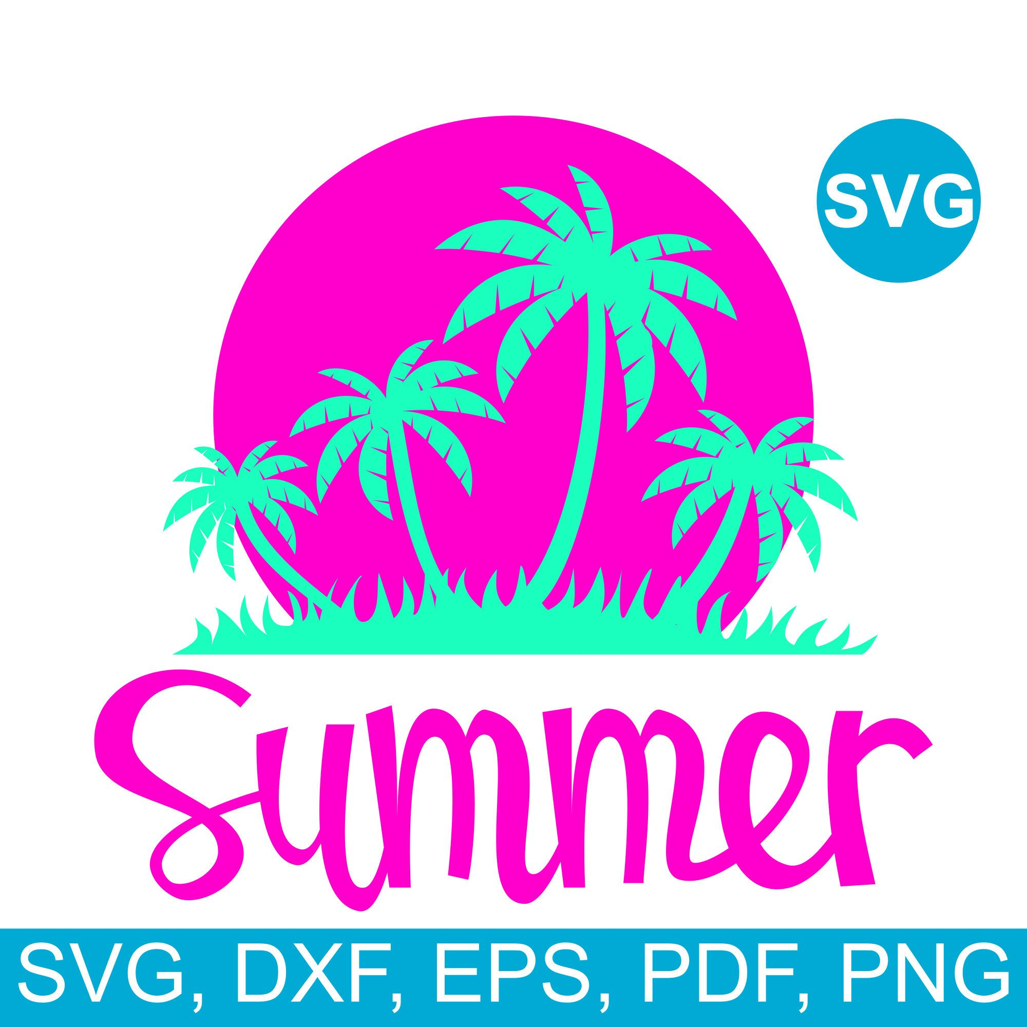 Summer SVG File with palm trees for Cricut and Silhouette