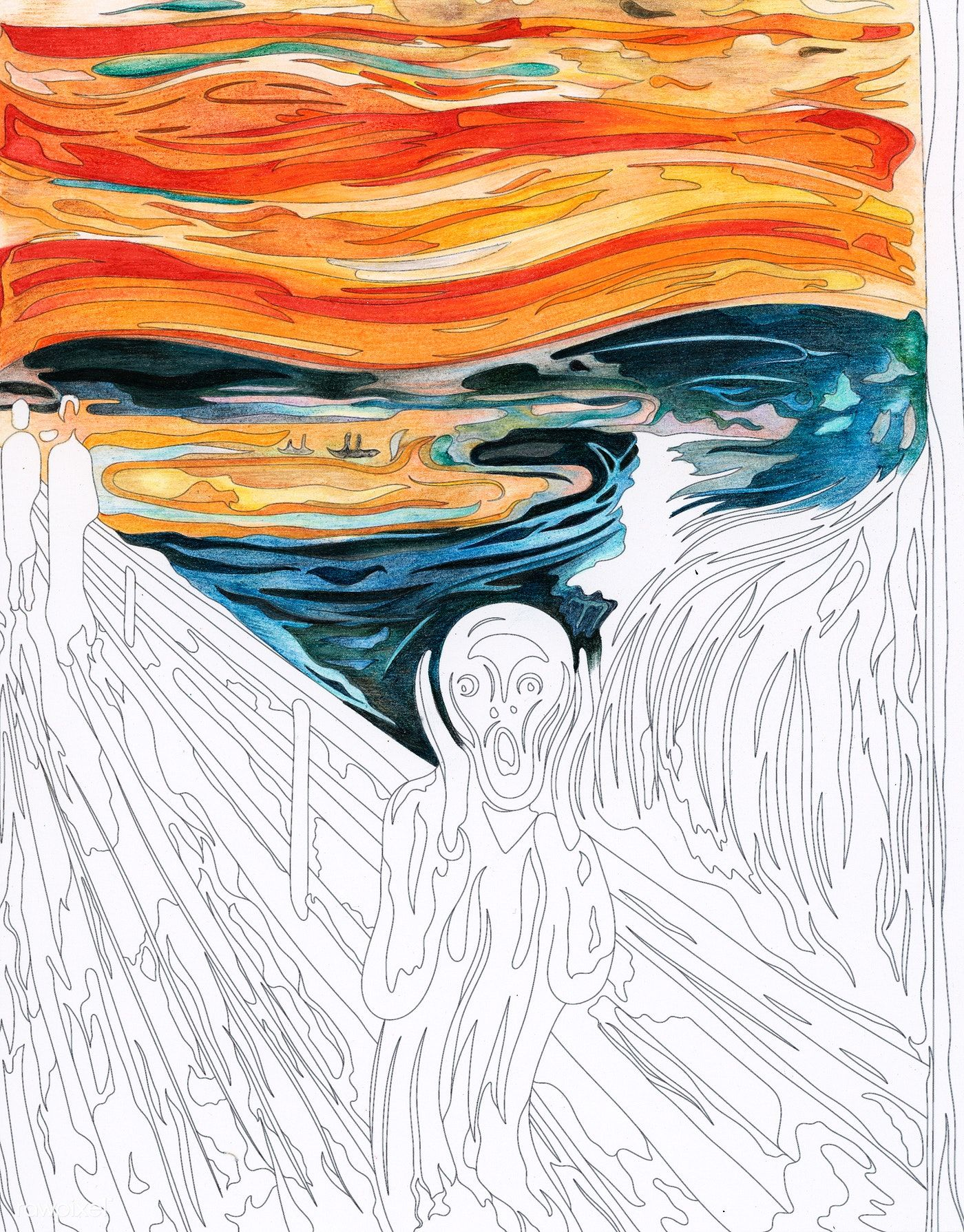 The Scream 1893 By Edvard Munch Adult Coloring Page Free Image