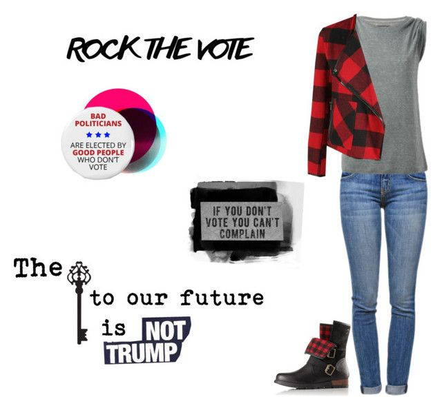 """Rock The Vote"" by sassiesavy ❤ liked on Polyvore featuring OTTO, Current/Elliott, Urban Outfitters, SOREL, Civic Duty, Dex and Brewster Home Fashions"