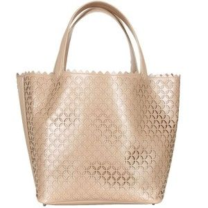 Beige Petal Shape Perforated Leather Tote.  By: Azzedine Alaïa