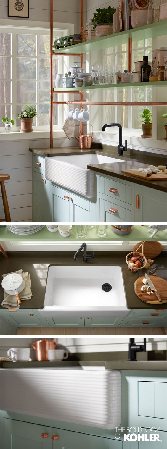 Copper Cottage Kitchen | Apron front sink, Apron and Sinks on kitchen island with farm sink, kitchen window trim ideas, kitchen nook with storage seat,