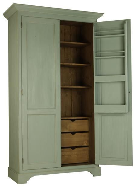 Free Standing Kitchen Larder With Pull Out Drawers In Base Storage On Inside Doors