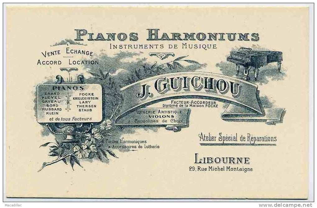 Musique Carte De Visite Publicitaire Ancienne Pour Les Pianos Harmoniums J GUICHOU