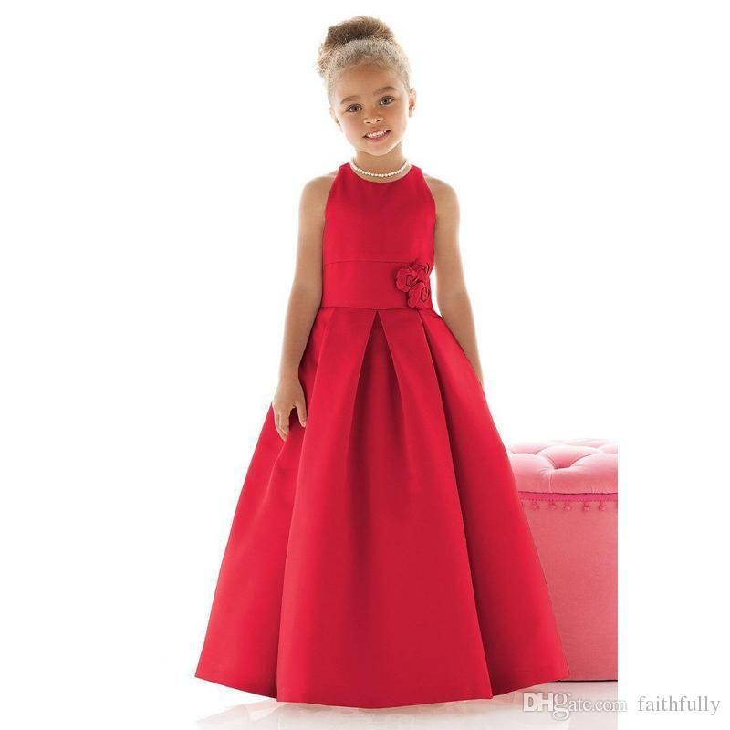 Elegant Red Color Satin Little Girls Formal Dresses 2017 ...