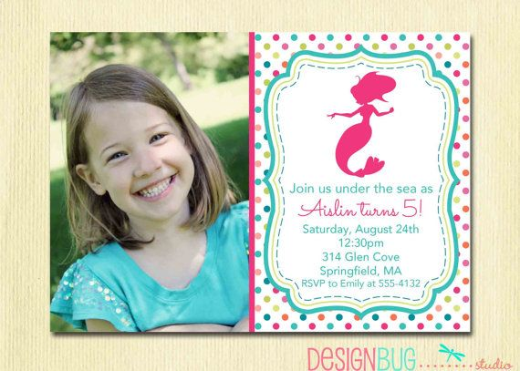 Mermaid Birthday Invitation 1 2 3 4 5 Year Old By DesignBugStudio 1400