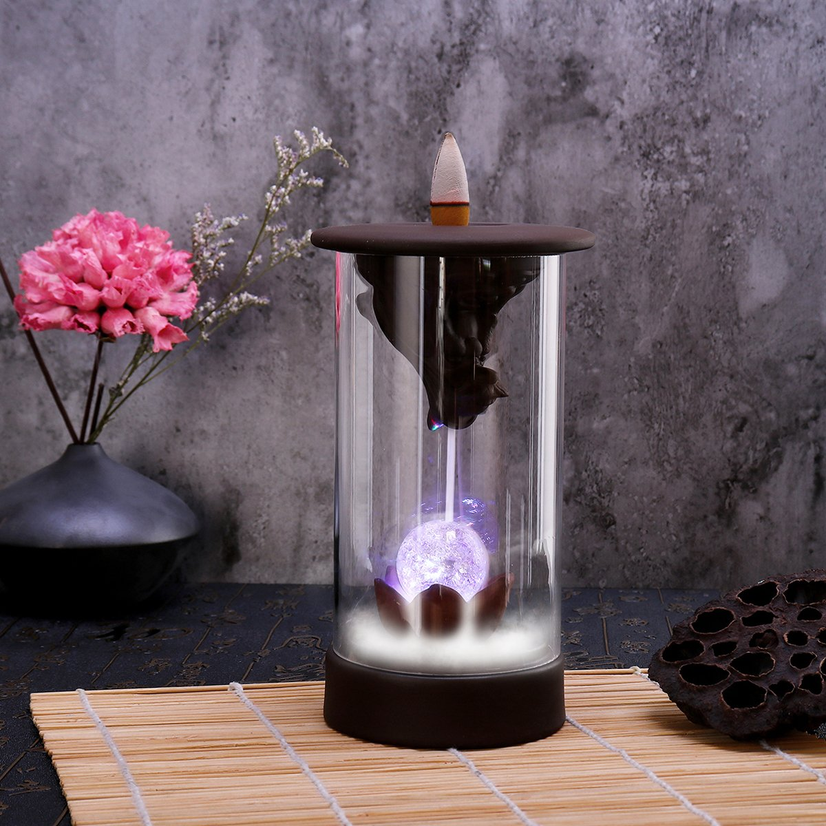 7 Color LED Changing Incense Burner Backflow Waterfall