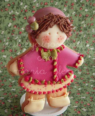 dulce y algo salado-cursos de galletas decoradas: Galletas decoradas..niña!!!