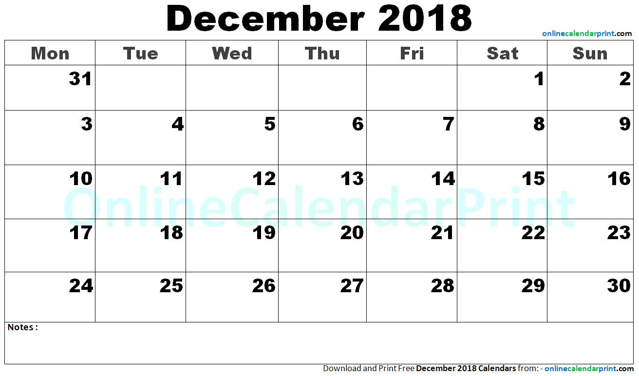 December 2018 Calendar September Calendar November Calendar
