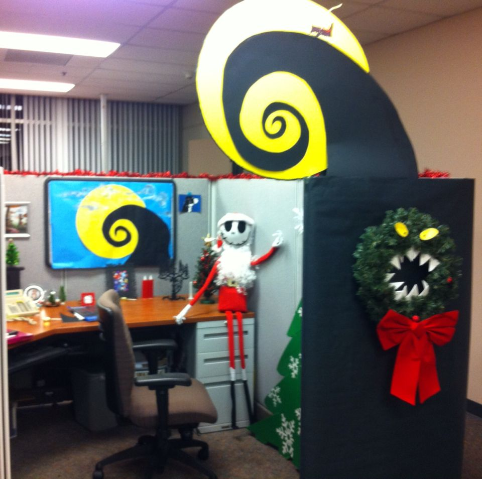Nightmare before Christmas office cubical decor jack skeleton - Halloween Office Decorations Ideas