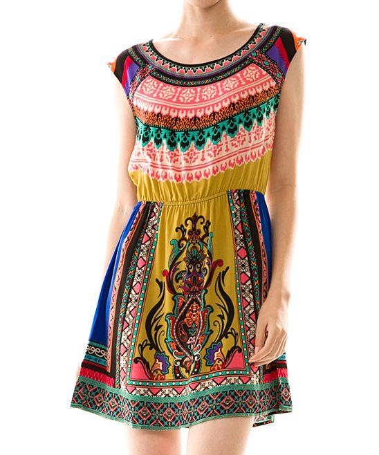Vanilla Monkey Pink & Yellow Tribal Sleeveless Dress   zulily