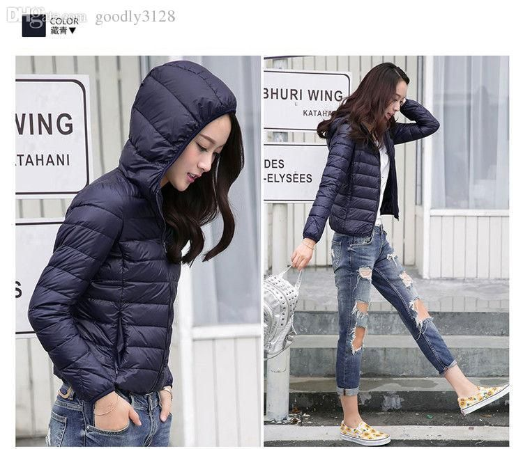 Wholesale-Womens Lady Duck Down Ultralight Hooded Puffer Jacket ...
