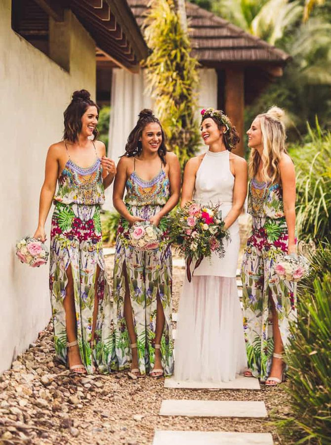 Chic Chiffon Floral Bridesmaid Dresses Bohemian Wedding Party Dresses Bridesma Floral Bridesmaid Dresses Patterned Bridesmaid Dresses Tropical Wedding Dresses
