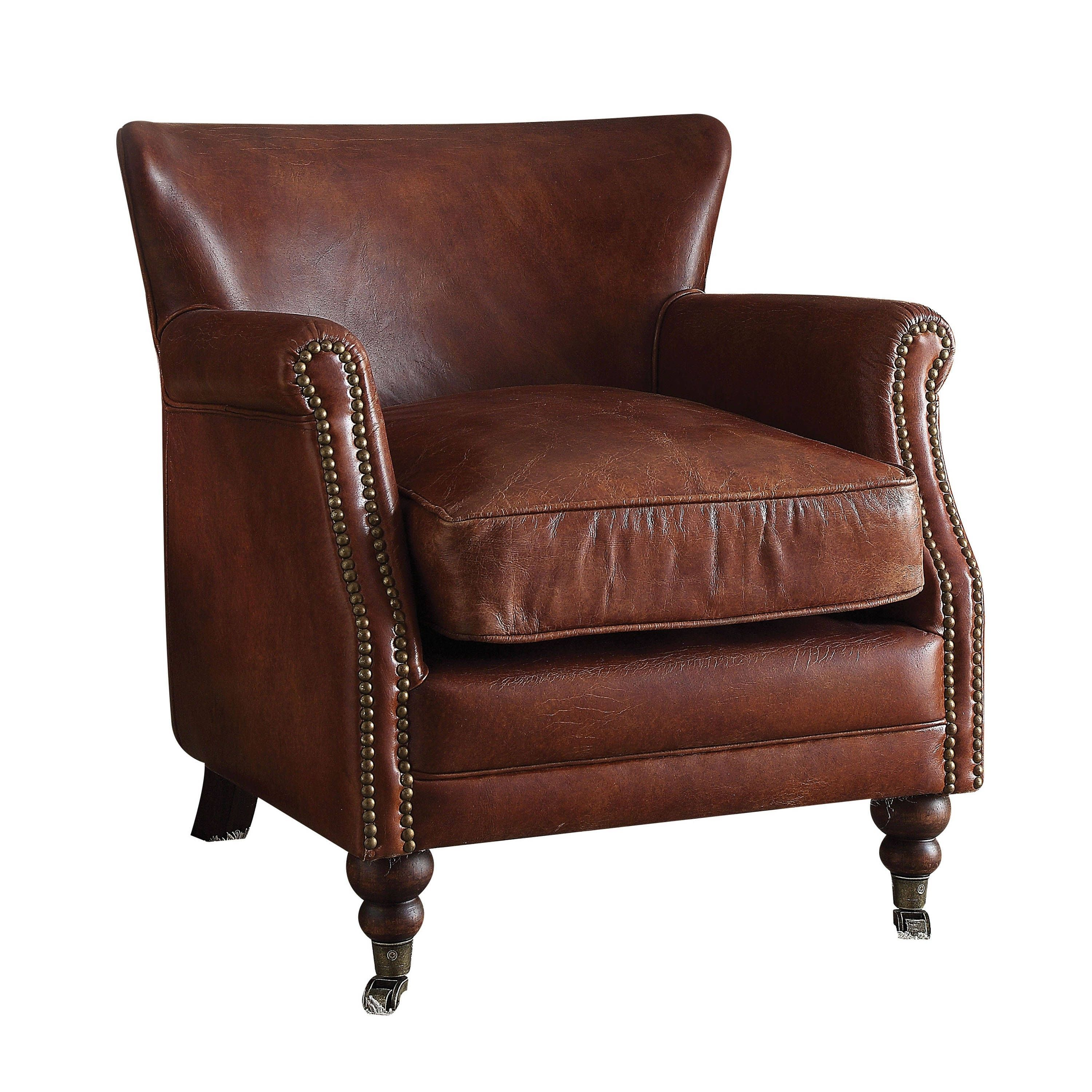 Best Acme Furniture Leed Top Grain Leather Accent Chair Vintage Dark Brown Leather Club Chairs 400 x 300