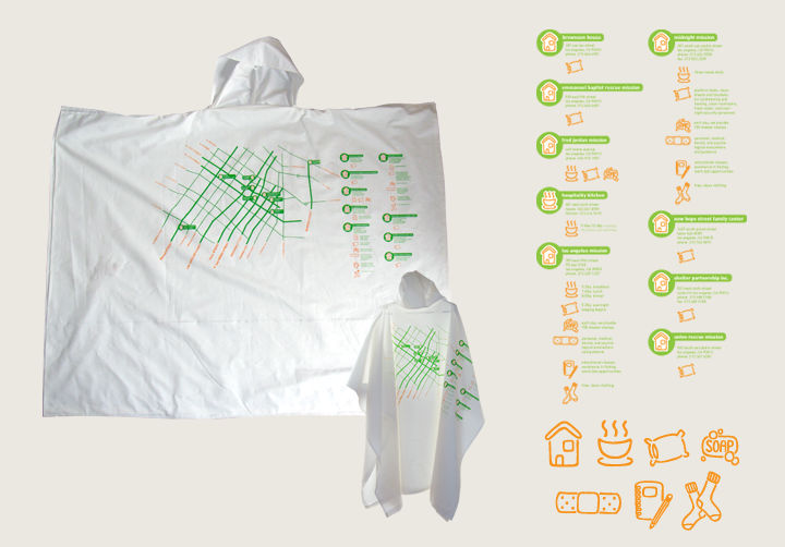 Find Your Way project.. ponchos and pillowcases for the homeless printed with maps of downtown LA highlighting local services