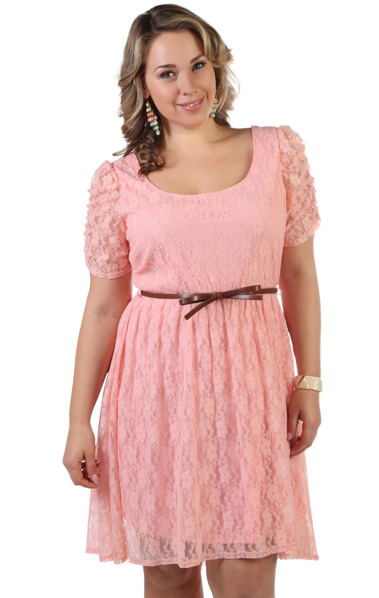 plus size lace high low dress with belted bow waist | Girly | Pinterest