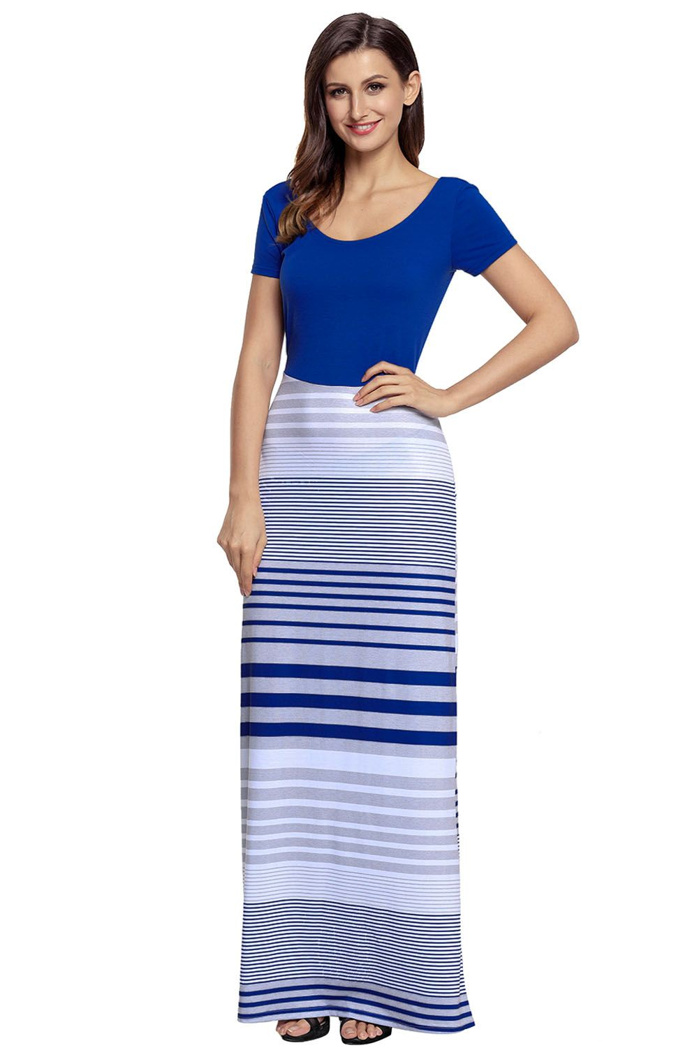 Navy Blue Crisscross Back Muliticolor Maxi Dress #navyblueshortdress