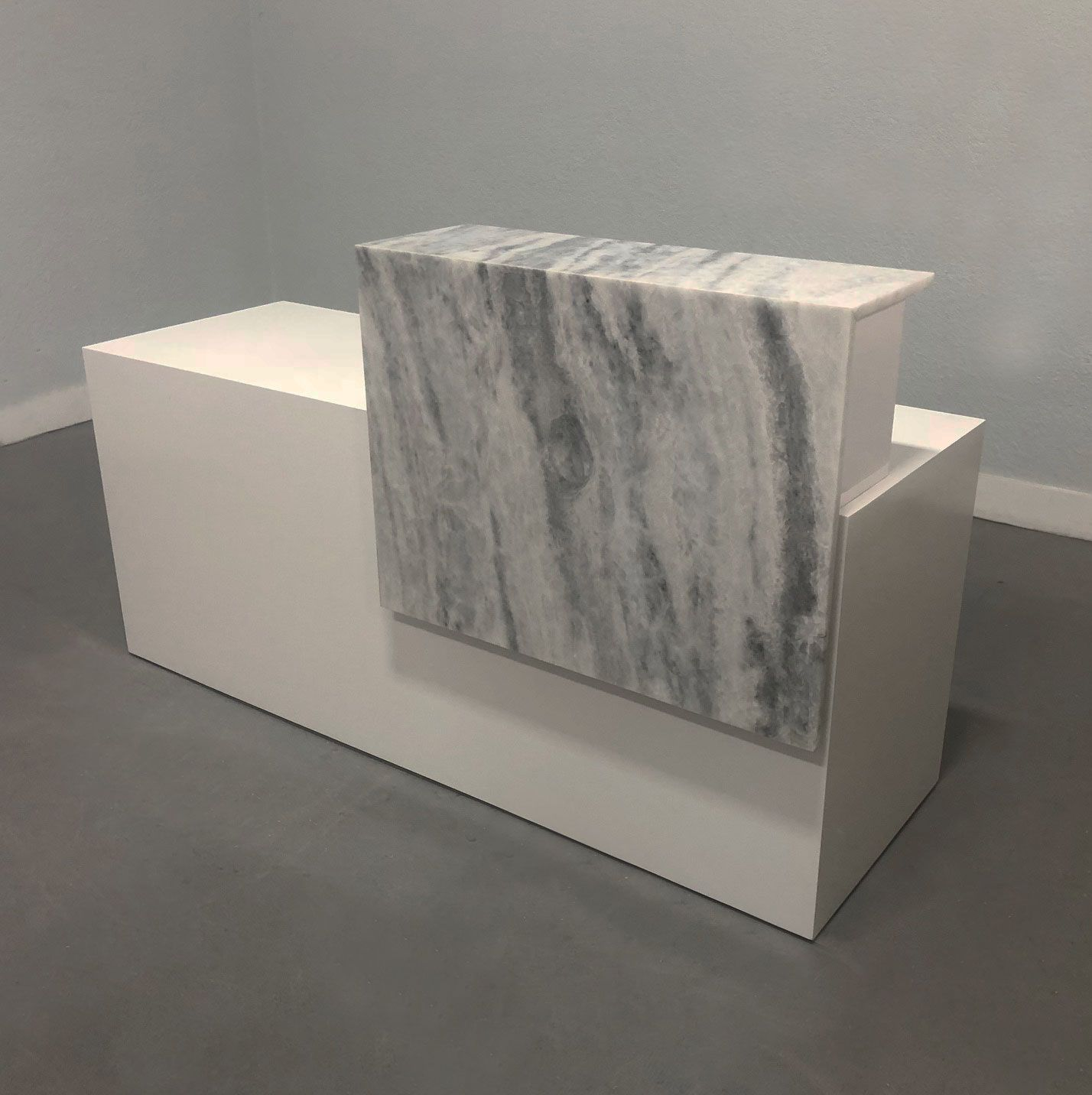 Custom Made Modern Reception Desk In White Lacquer And White Marble Counter Top Modern Reception Desk Modern White Reception Desk Reception Desk