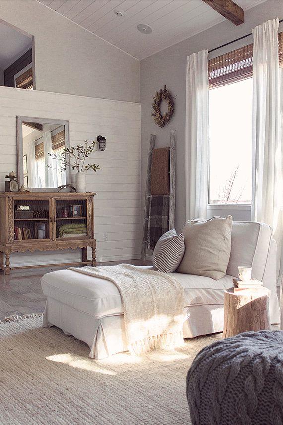Custom IKEA Kivik 3 Seater Sofa Long Skirt Slipcover In Liege Eggshell Linen Fabric
