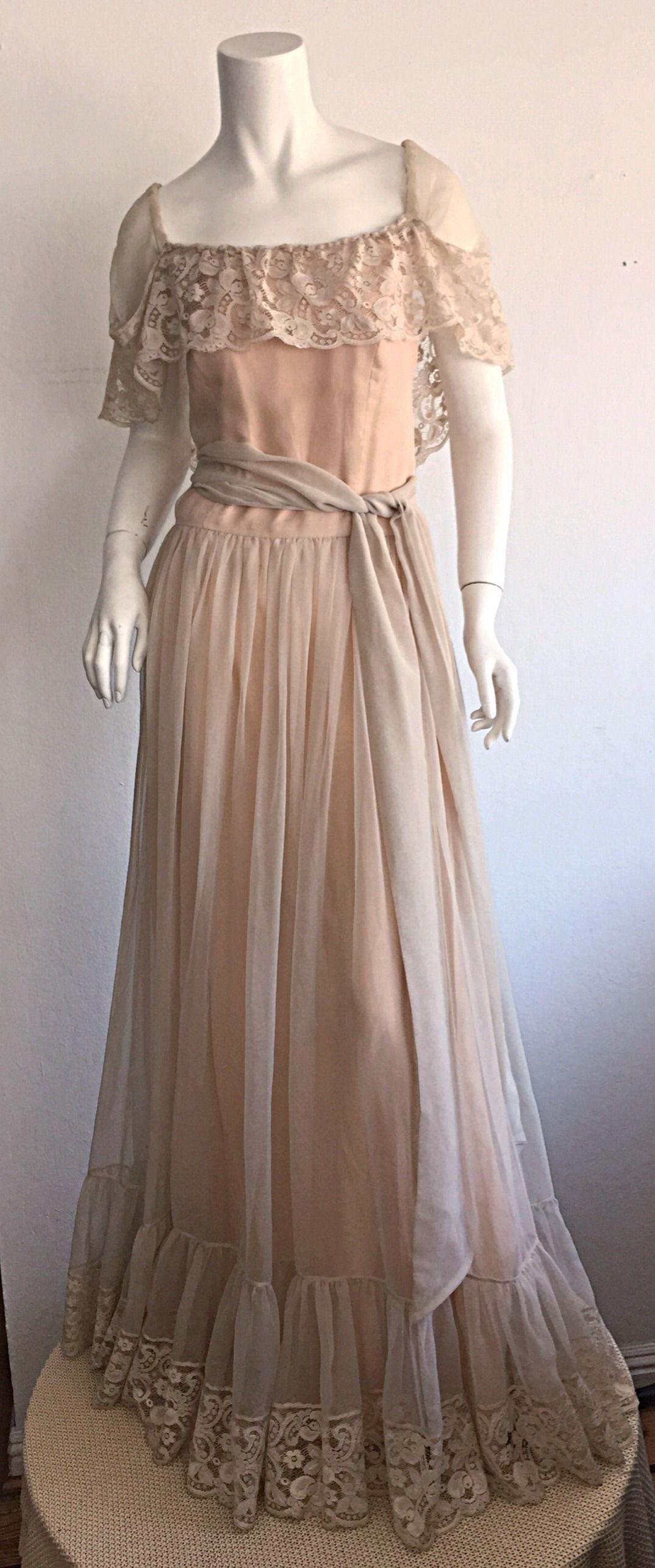 Beautiful Ethereal Vintage Victor Costa Cream Lace Bohemian Wedding ...