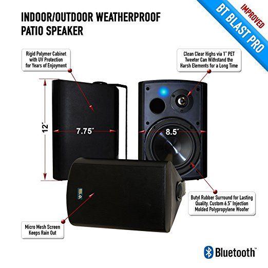 Sound Appeal Wireless Bluetooth Weatherproof Speakers Black 6 50 Inch Pair Cool Bluetooth Speakers Small Bluetooth Speaker Best Outdoor Bluetooth Speakers