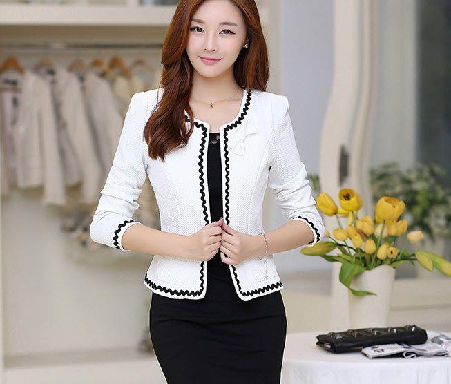 Cheap Otoño 2015 moda coreana Blazers fina delgada mujer pequeña chaqueta  corta… 4d0ec51fd912
