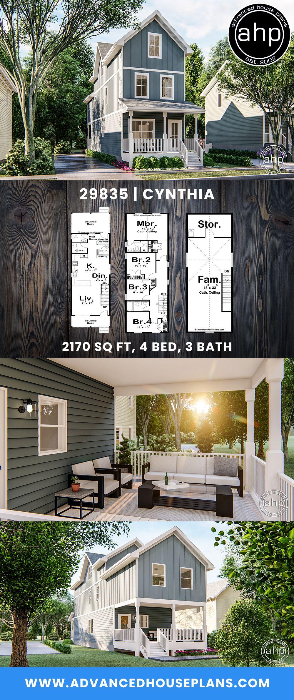 Traditional Style Narrow House Plan | Cynthia   #floorplan #homeplan #houseplan #homedesigner #architecturaldesigner #homesweethome #dreamhome #shotgunhouse #narrowhouseplan #narrowhome #rendering #curbappeal #designbuild #readytobuild