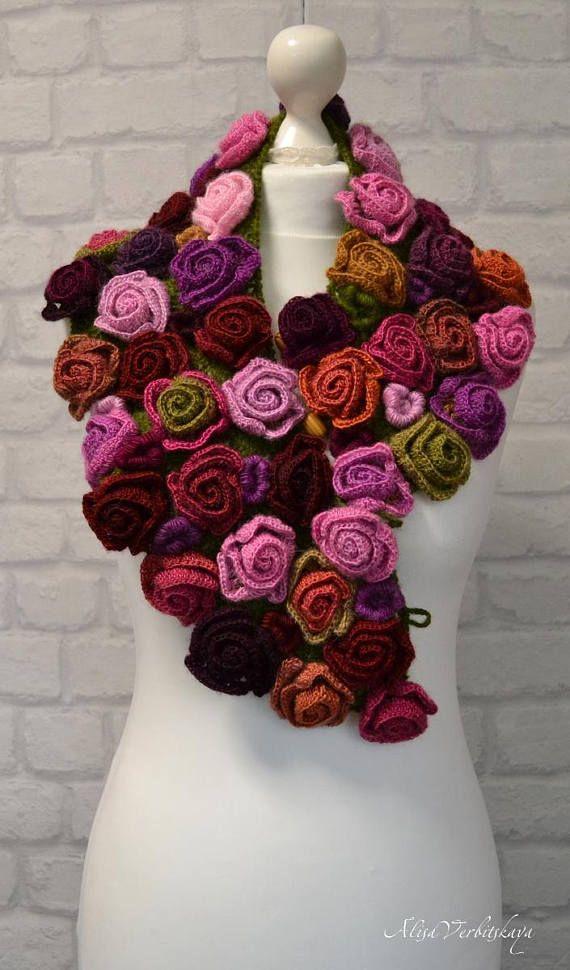Bufanda Boho Bufanda de noche Regalo de envoltura Bufanda irlandesa cálida Bufanda de cachemira Bufanda de ganchillo para mujer Bufanda roja Accesorios para mujer Collar rosa