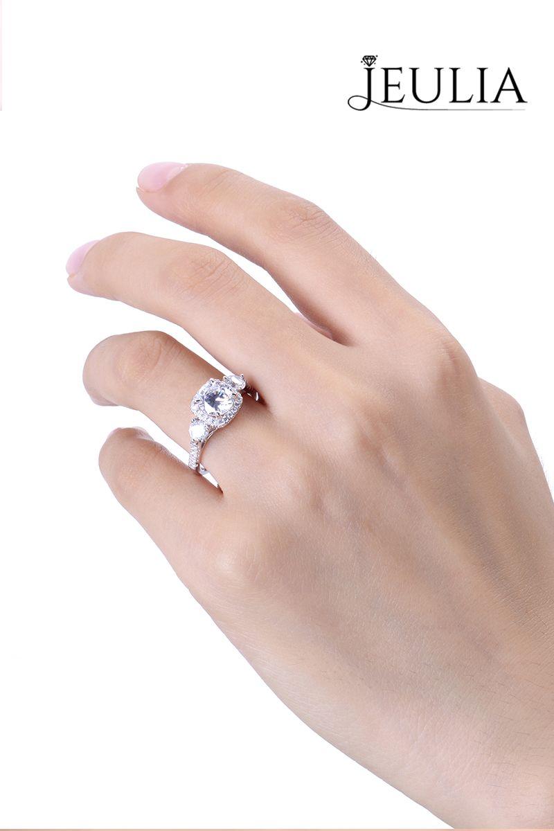 Three Stone Halo Round Cut Created White Sapphire Engagement Ring ...