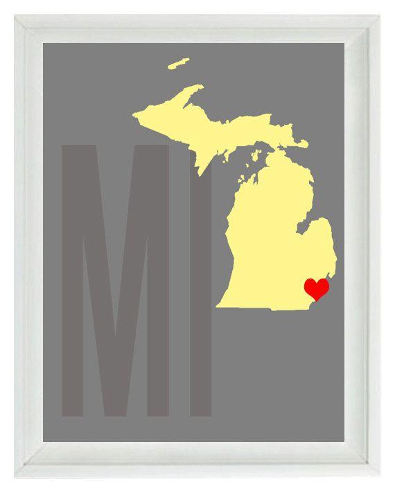 Michigan Map Art Print - Custom Personalized Gray Yellow Decor ...