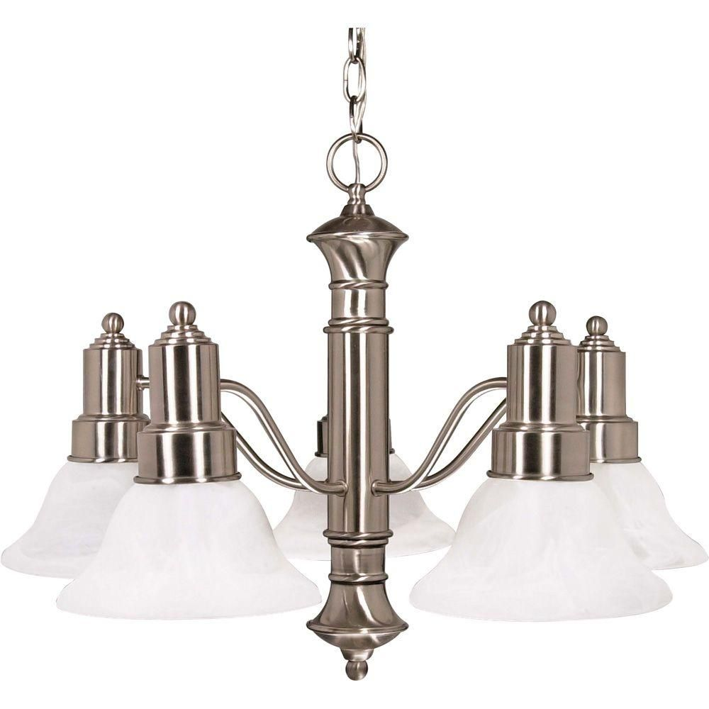 Glomar 5 Light Brushed Nickel Chandelier With Alabaster Glass Bell