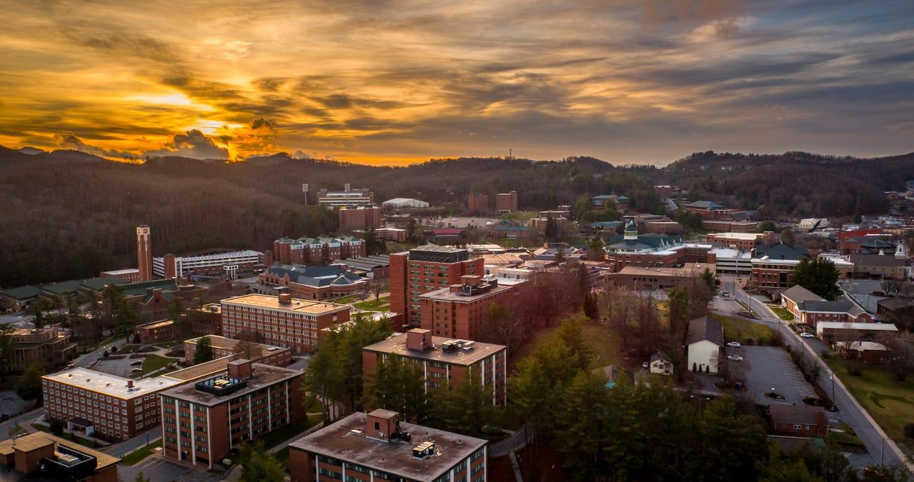 Nelson Aerials view over Appalachian State University and
